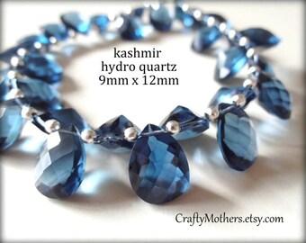 27% SALE! (Code: 27OFF20) KASHMIR BLUE Hydro Quartz Faceted Pear Cut Stone Briolette Trio, (1) Matched Pair, (1) Focal, 9mm x 12mm, sapphire