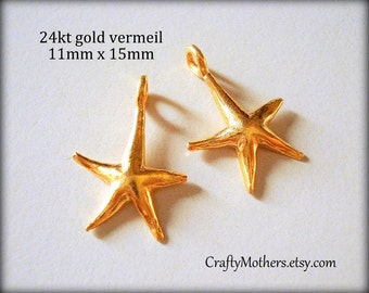 27% SALE! (Code: 27OFF20) TWO Bali 24kt Vermeil Starfish Charms, 15mm x 11mm, artisan-made jewelry supplies, earrings