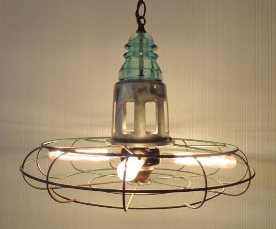 INDUSTRIAL LIGHT Chandelier Vintage Diehl Fan Upcycle