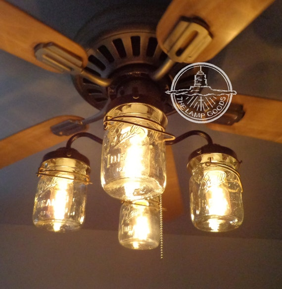 CEILING FAN Light KIT Vintage Canning Jar Mason Jar