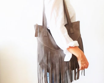 Fringes suede GRAY Leather tote bag - Shoulder Bag -Every day leather bag - Women bag