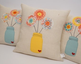 scrappy flower pillow, scrappy quilt, ball jar, flowers in jar, quilted pillow, burlap pillow, home decor, gifts for her, throw pillow