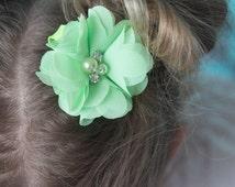 Mint hair clips, 2 clips, flower clip, piggy tail hair, toddler hair clip, baby hair clip, baby shower gift, flower girl clip, green hair