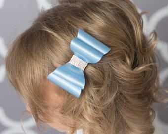 Light blue hair bow, blue satin hair bow, girl hair accessories, baby bow, wedding hair bow, toddler bow, girl hair clip, girl birthday gift