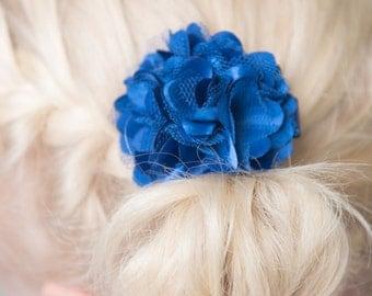 Royal blue hair clip, satin hair clip, girl hair bow, flower hair accessory, wedding flower girl gift, girl birthday gift, baby shower gift