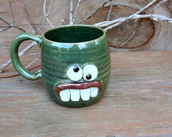 Cool Coffee Cups. Accident Prone Face Mug. Stoneware Pottery. Frosty Green. Nelson Studio Ug Chug. Unique Coffee Lovers Tea Drinker Gift.