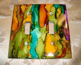 COLOR EXPLOSION - Hand Painted Light Switch Plate, Double Switch, Red