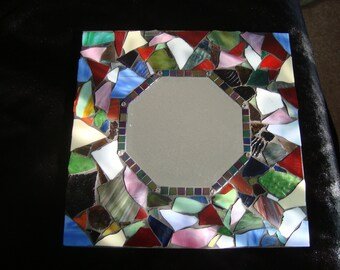 MOSAIC MIRROR, Stained Glass Mirror, Multicolored, Wall Art, Home Decor