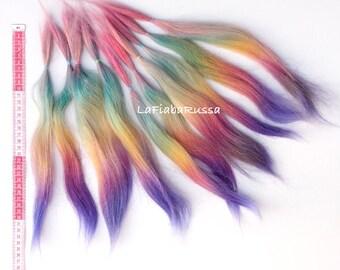 rainbow goat hair dyed fiber 3 oz  long 13-14 in very coarse mohair long hair Doll Hair - doll wig, la fiaba russa, bjd,