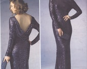 Vogue Pattern V1374 American Designer Badgley Mischka Close Fitting Pullover Dress Pleated Drape Back Neckline Average Skill Misses' 14 - 22