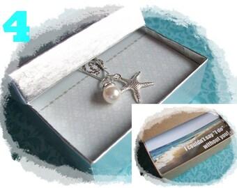 4 STARFISH NECKLACES - Starfish Necklace - Starfish Necklaces - Starfish Jewelry, Bridesmaid Necklace, Starfish Necklace, Starfish Jewelry