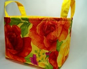 PK Fabric Basket in Rosa in Yellow - Storage Basket - Diaper Caddy - Ready To Ship - Reversible