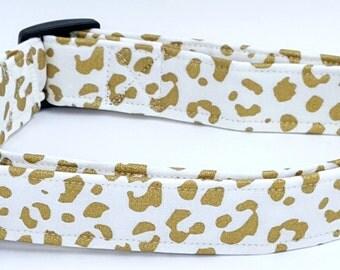 Wild Thing Metallic Gold Cheetah Leopard Print On White Dog Collar