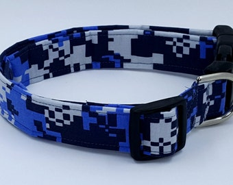 Blue and Gray Digital Camo Military Camouflage Dog Collar