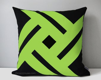 Black & Lime Green Outdoor Pillow Cover, Modern Geometric Throw Pillow Cover, Decorative Sunbrella Pillow Cushion Cover Macaw Green Pinwheel