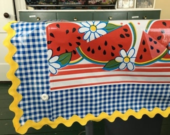 A slice of summer---watermelon and daisy print oilcloth tablecloth