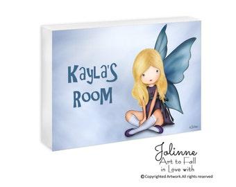 Guardian angel, personalized sign, custom name sign, kids door signs, door plaque, girls room sign,door sign custom, nursery door sign art
