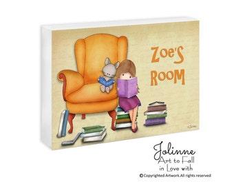 Personalized name door sign for girls room, reading room door hanger , book nook art, books wall art, library sign, classroom door sign