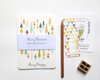 Greetings cards, MERRY CHRISTMAS Cards - Seasons greetings cards, holidays greetings cards - cards set - colorful christmas cards