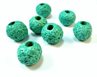 "Turquoise ceramic beads, round 16mm""lava""greek ceramic beads, set of 6"