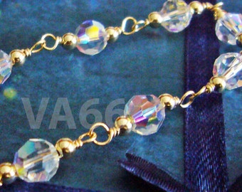 Wire Wrapped Bridal Swarovski Crystal Bracelet 14K Gold Filled or 925 Sterling Silver Handmade Colours Bridesmaids, MOB, Bridal Prom Party