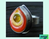 Sundrop Ring - 1 glass and sterling ring (size 7.5) by Sarah Moran