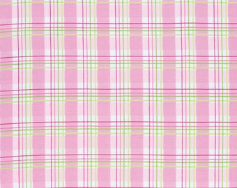 Zoey's Garden Fabric by Tanya Whelan Pink Green and White Faux Plaid