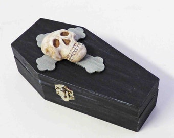 Skull Coffin Box - Lined Coffin Box - Gothic Trinket Box - Coffin Jewelry Box - Skull Stash Box