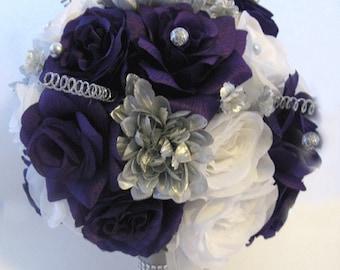 Wedding Silk Flowers Bridal Bouquet PURPLE Plum SILVER GRAY 17 Piece Package Artificial Centerpiece Decoration Arrangements