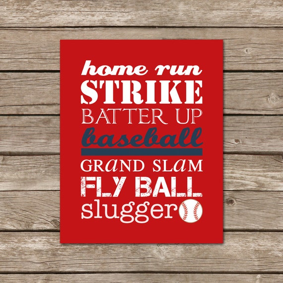 Digital download - 8x10 Baseball Subway Art Print - red