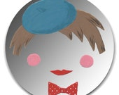 Hand painted mirror - Stylish Fellow with Beret and Bowtie