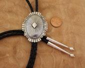 Vintage Silver Bolo Tie Norman Bia Concho