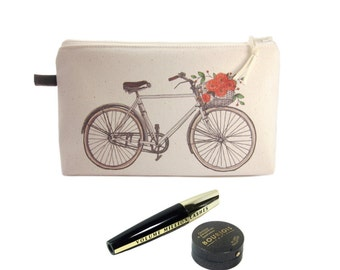 Bicycle Cosmetic Case, Makeup Storage, Zip Pouch, Make Up Bag