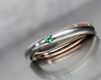 Ultra Modern Emerald Wedding Band 14K Rose Gold Palladium Unique Minimalistic Architectural Gray Green Pink Bridal Ring May - Atomic Orbit