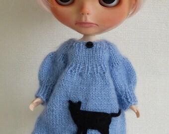 Oh my cat blue dress for Blythe