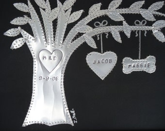 Anniversary Gift - 10 Year Wedding - Aluminum - Tin Gift - Hearts - Family Tree  - Personalized Engraved Dates and Names Stamped