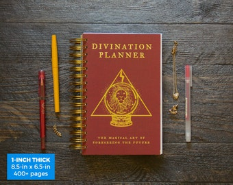 Divination Planner - Red  / Daily / 1-Inch Thick (SUPER THICK) - Choose Your Month and Times!