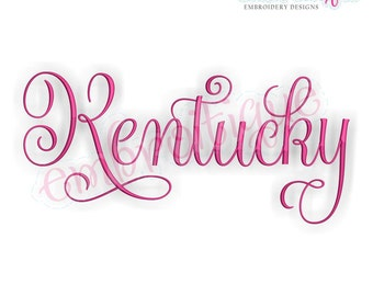 Kentucky Calligraphy Fancy Script 3  - Instant Download Machine embroidery design