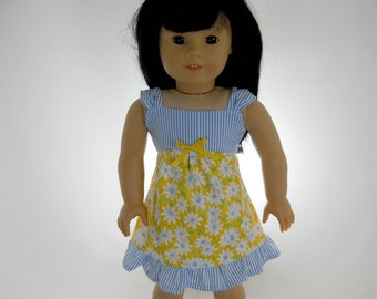 18 inch doll clothes, Girl Doll Clothes,  Yellow Daisy and Blue Stripe Sundress, 03-0996