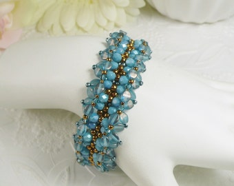 Woven Bracelet Bronze with Blue Pinch Beads Gifts for Her