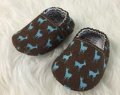 3-6 Months Teal Reindeer Brown Baby Bootie - Elastic Back - Ready to Ship