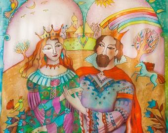 Silk Painting Wedding Gift Fairy Tale Wall Decor They Lived Happily Ever After