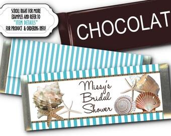 12 Candy Bar Wrappers, Wedding, Bridal Shower, Birthday, Luncheon, Aqua Blue Stripes, Sea Shells, Starfish, Beach Ocean Theme