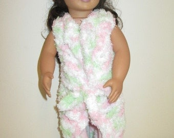 "18"" Doll Dressing Gown, Hand-Crocheted- Pink/Green/White"