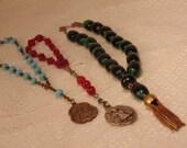 Vintage Wrist Rosary,Prayer Rosary,Vintage Rosary,Bracelet Rosary,Glass Rosary,Prayer Beads,Set of 3