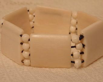 Vintage Bone Bracelet Tribal Jewelry Tribal Bracelet Stretch Bracelet Vintage Jewelry Vintage Bracelet Bone Jewelry