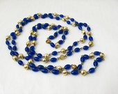 Blue Bead Necklace, Long Beaded Necklace, Vintage Blue and Gold Necklace, Long Blue Necklace, Dark Blue Necklace, Double Strand Necklace