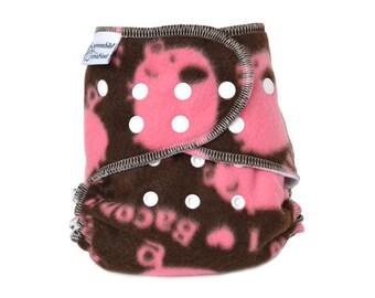 Cloth Diaper Cover OS, Fleece - I Love Bacon, pigs