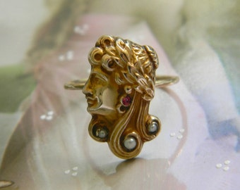 Antique Art Nouveau Ring, 10k Solid Gold Ring, Seed Pearl Conversion Ring, Ruby Ring, Repousse Ring, Lady Face Ring,, Midi Pinky Ring 1900s