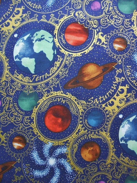 Celestial collection planets space blue in the beginning for Celestial fabric by the yard